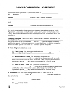sample free booth salon rental lease agreement  pdf  word salon employee contract template word