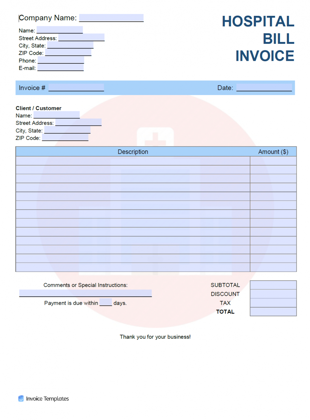 sample free hospital bill invoice template  pdf  word  excel medical bill statement template pdf