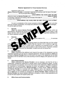 virtual assistant retainer agreement sample  fill out and sign printable  pdf template  signnow personal assistant contract template doc