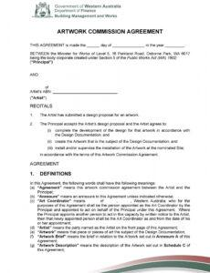 Art Commission Contract Template Doc Example