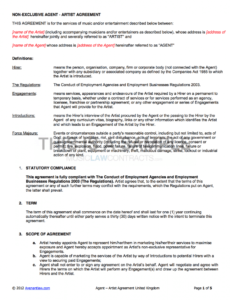 Best Art Commission Contract Template Pdf Example