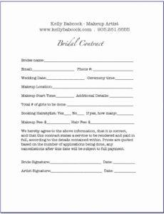 Best Bridal Makeup Contract Template Excel Example