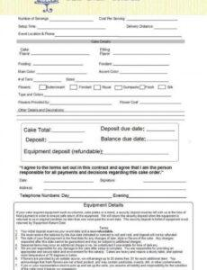 Best Cake Contract Template  Example