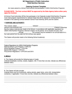Best Caterer Contract Template Doc Sample