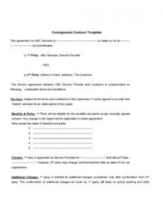 Best Consignment Store Agreement Template Doc Example