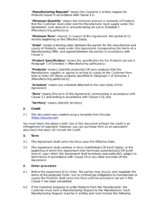 Best Contract Manufacturing Agreement Template Doc Example