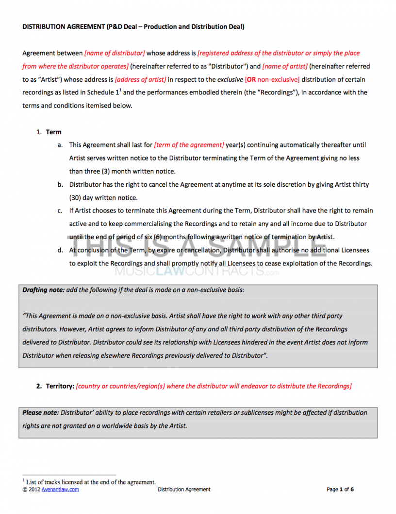 Best Music Distribution Contract Template Pdf Sample