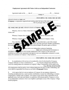 Best Tattoo Apprentice Contract Template Doc Example