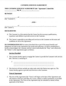 Caterer Contract Template  Example