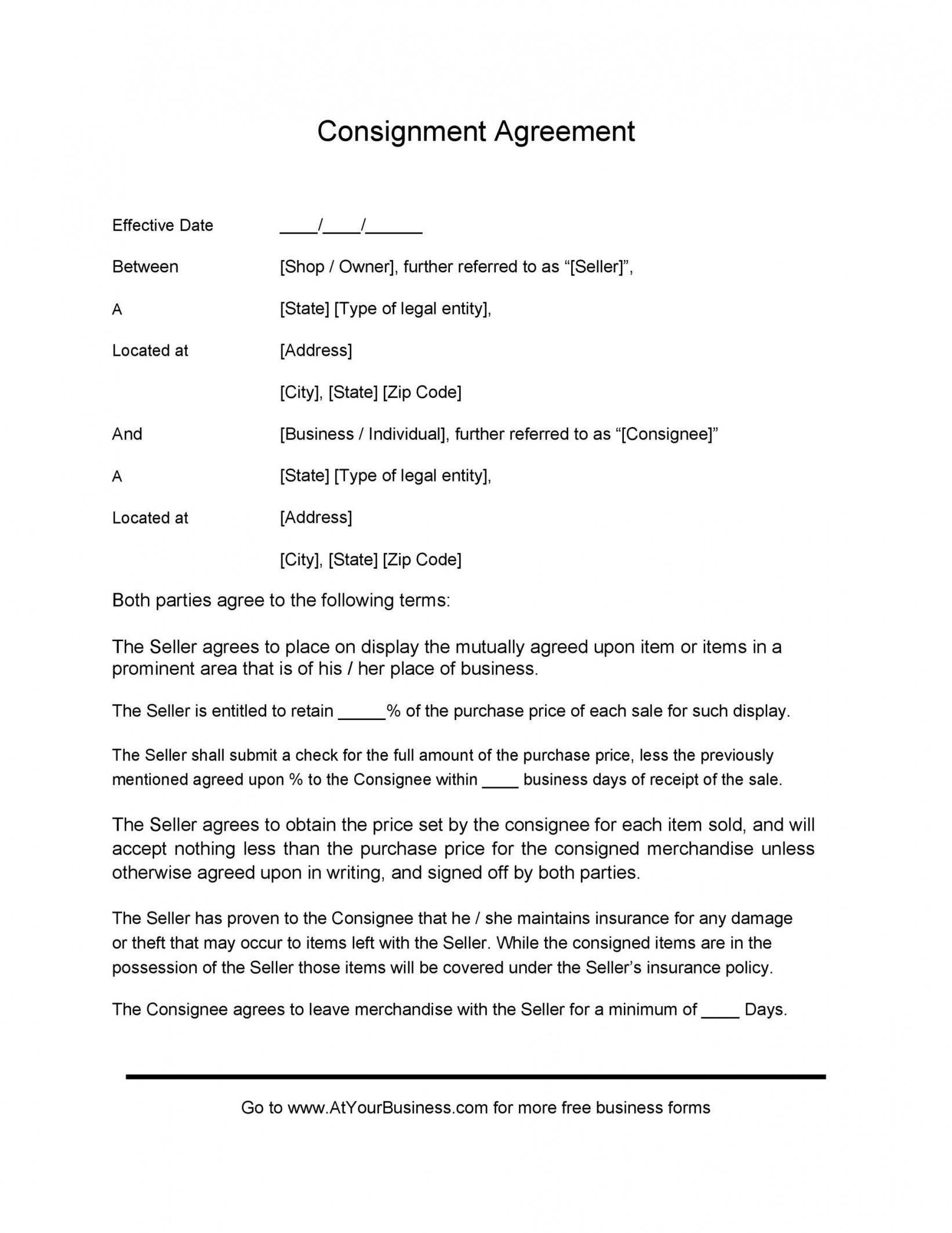 Consignment Store Agreement Template