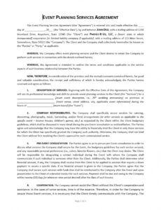 Costum Event Venue Contract Template Pdf