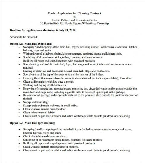 Costum Janitorial Services Contract Template Excel