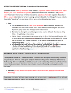 Costum Music Distribution Contract Template  Example
