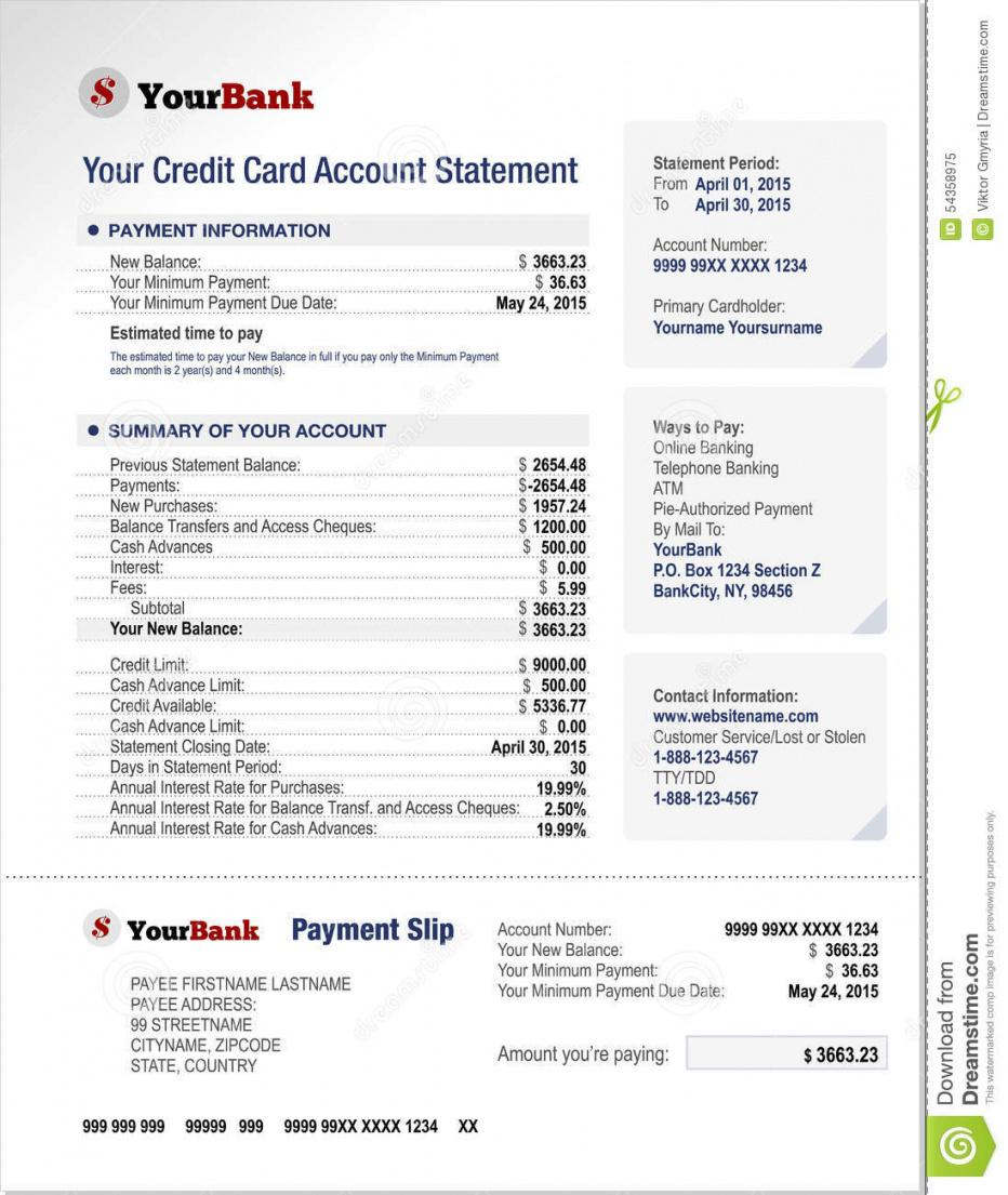 Credit Card Statement Template Word Example