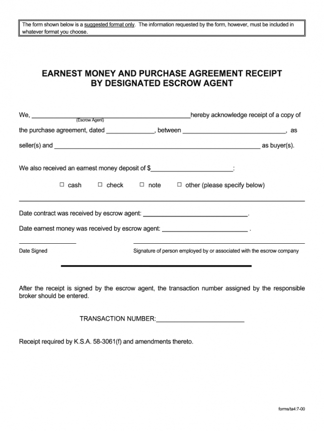 Earnest Money Contract Template Excel Example