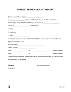 Earnest Money Contract Template Pdf Example