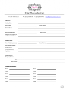 Editable Bridal Makeup Contract Template Word Example
