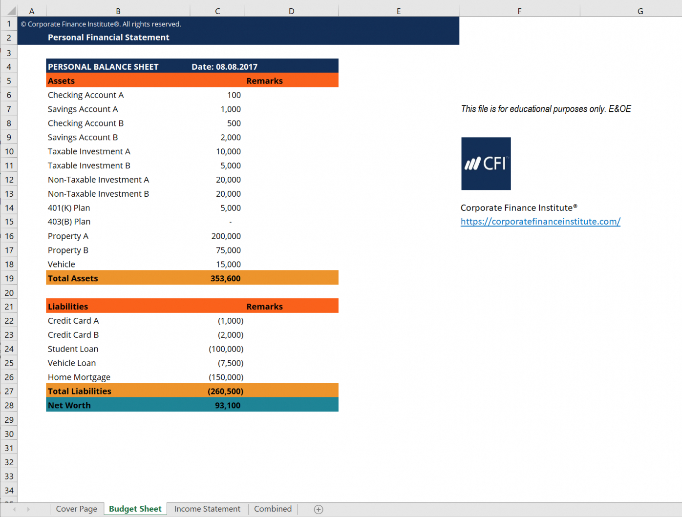 Editable Budget Financial Statement Template Excel Example