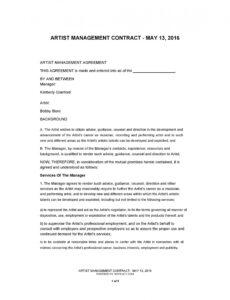 Editable Talent Management Contract Template Doc Sample
