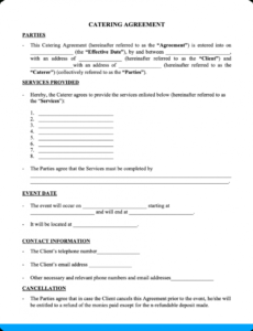 Free Caterer Contract Template Excel