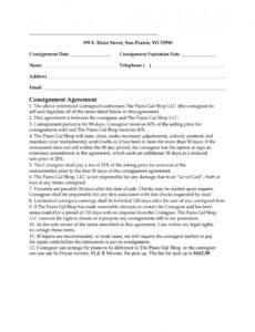 Free Consignment Store Agreement Template Pdf Example