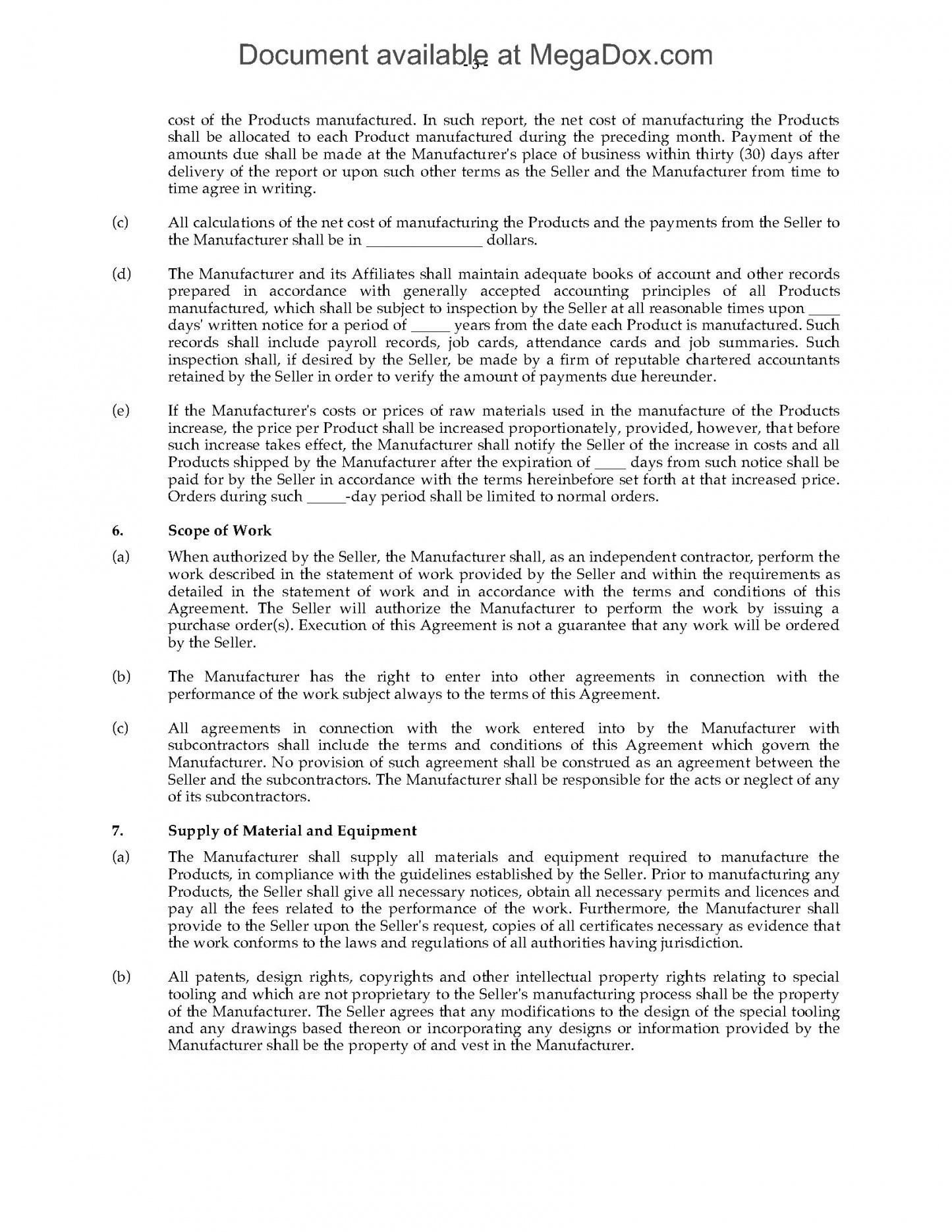 Free Contract Manufacturing Agreement Template Excel