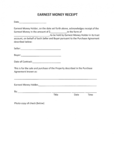 Free Earnest Money Contract Template Excel Sample