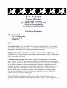 Free Puppy Purchase Contract Template Doc Example