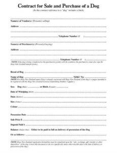 Printable Puppy Purchase Contract Template