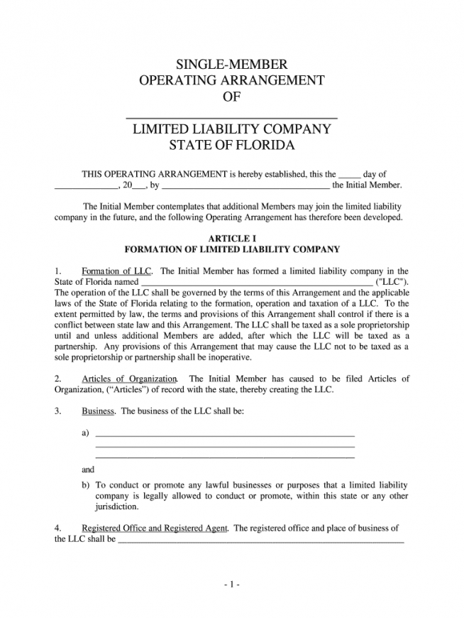 Printable Single Member Llc Operating Agreement Template Excel Example