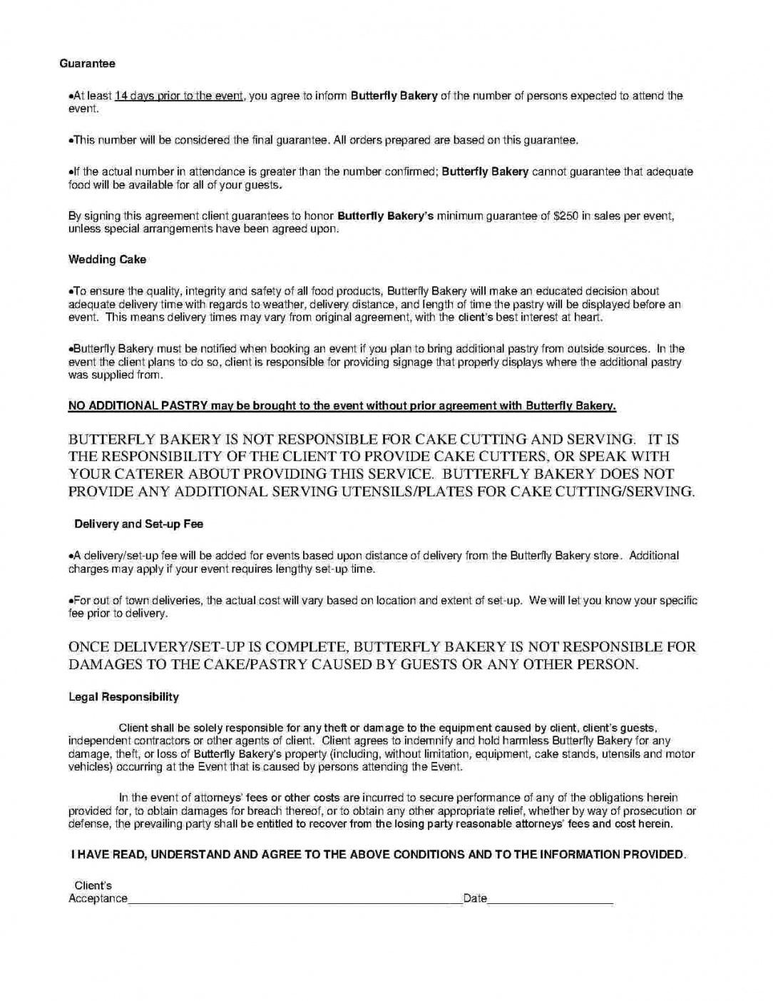 Professional Caterer Contract Template  Sample