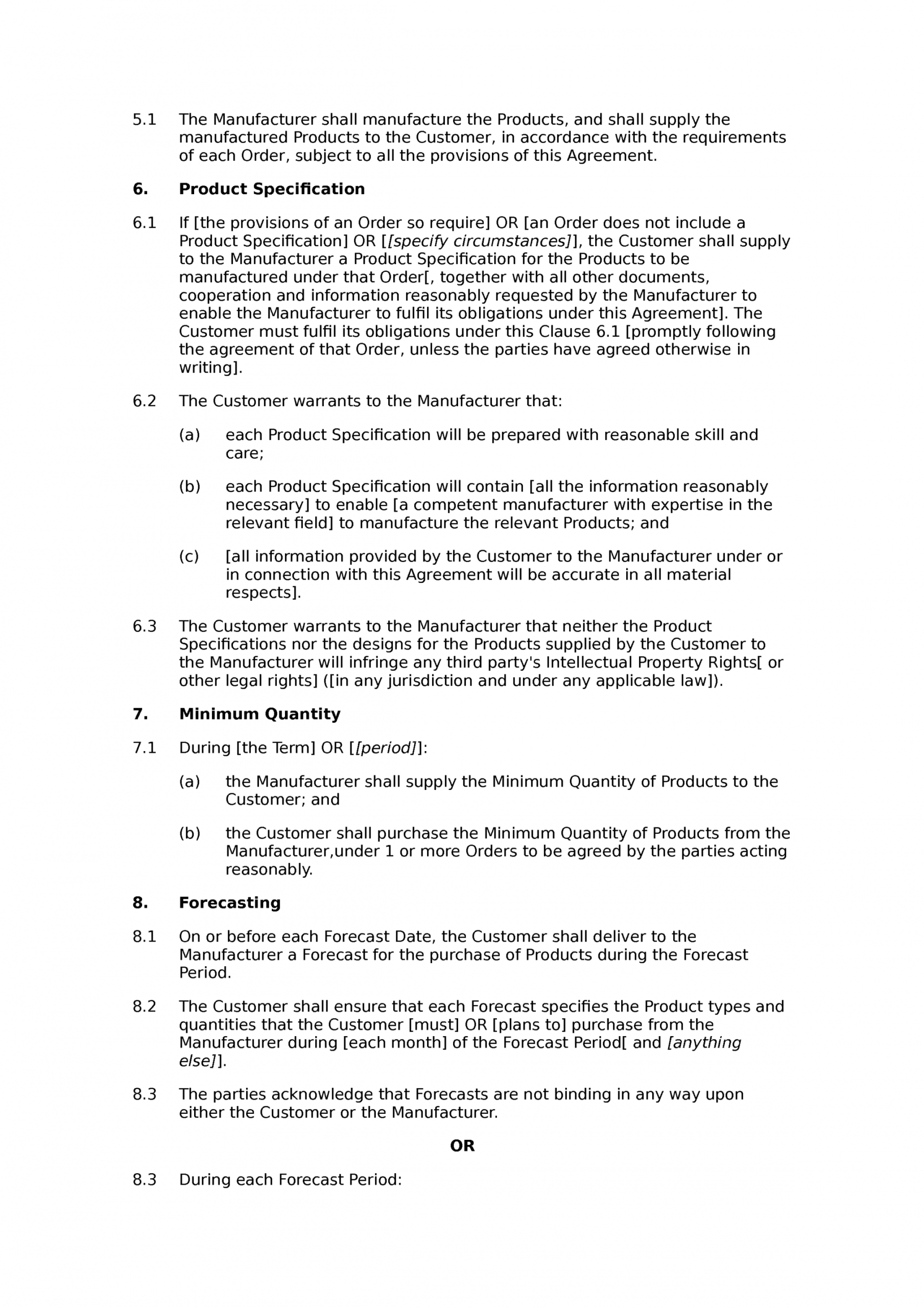Professional Contract Manufacturing Agreement Template Pdf Example
