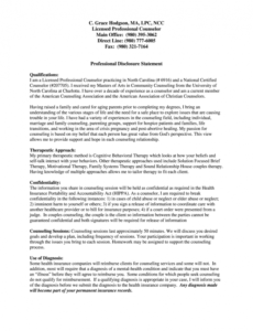Professional Professional Disclosure Statement Template Pdf Example