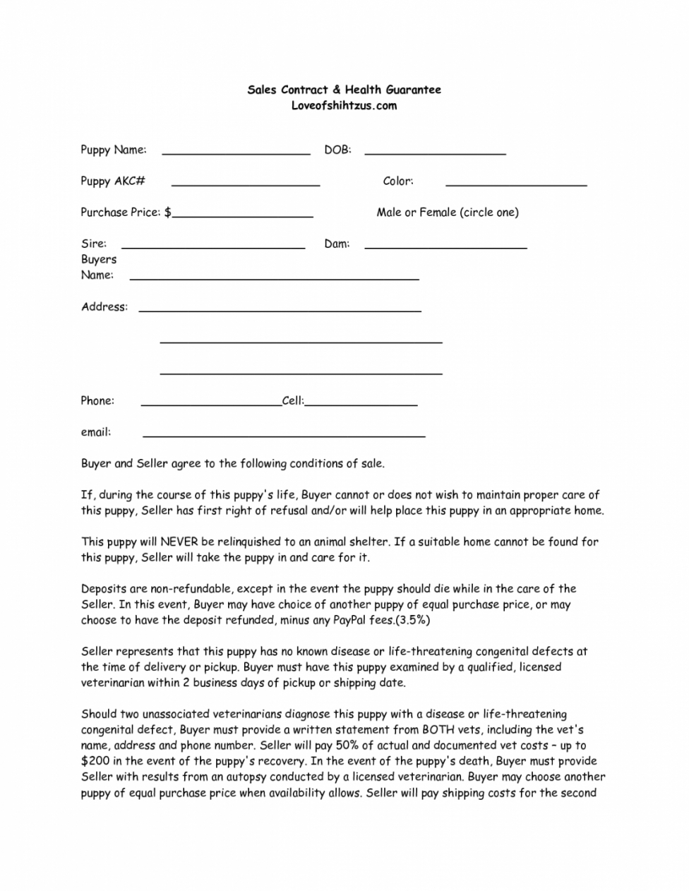 Professional Puppy Purchase Contract Template Excel Example