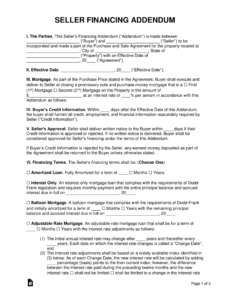 Seller Financing Contract Template  Sample