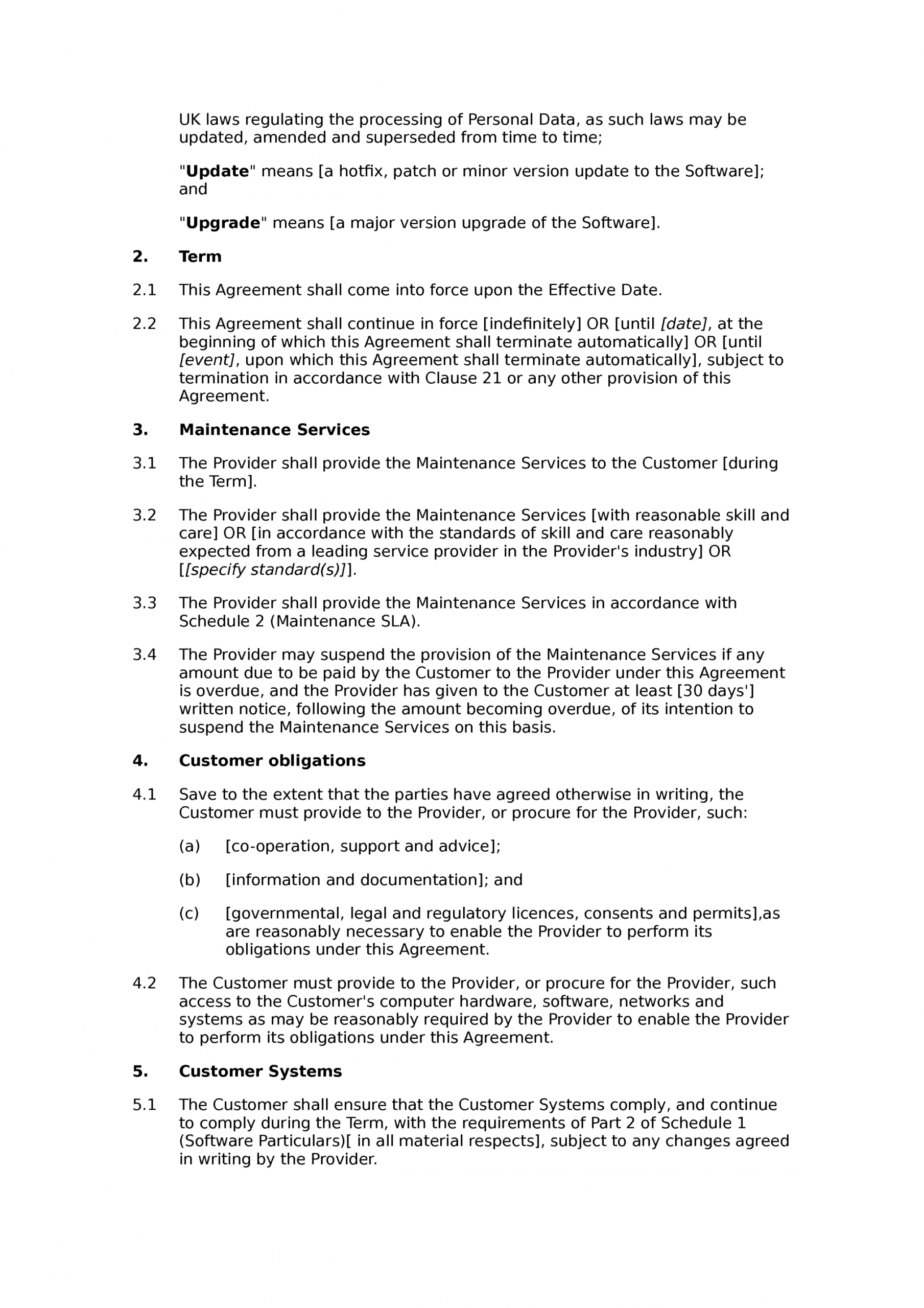 Software Service Contract Template Word Sample