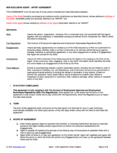 Talent Management Contract Template Excel