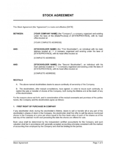 Transfer Of Ownership Contract Template Doc Sample