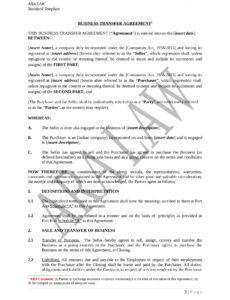 Transfer Of Ownership Contract Template Excel Example