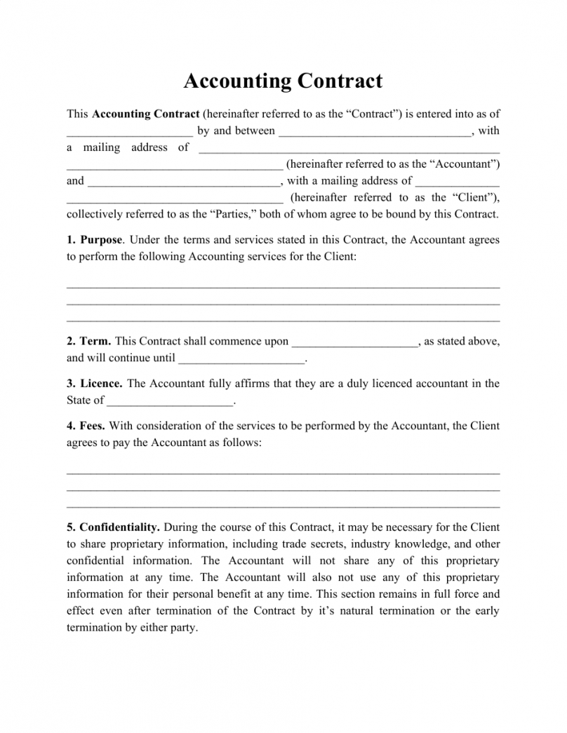 Best Bookkeeping Service Contract Template Excel Sample