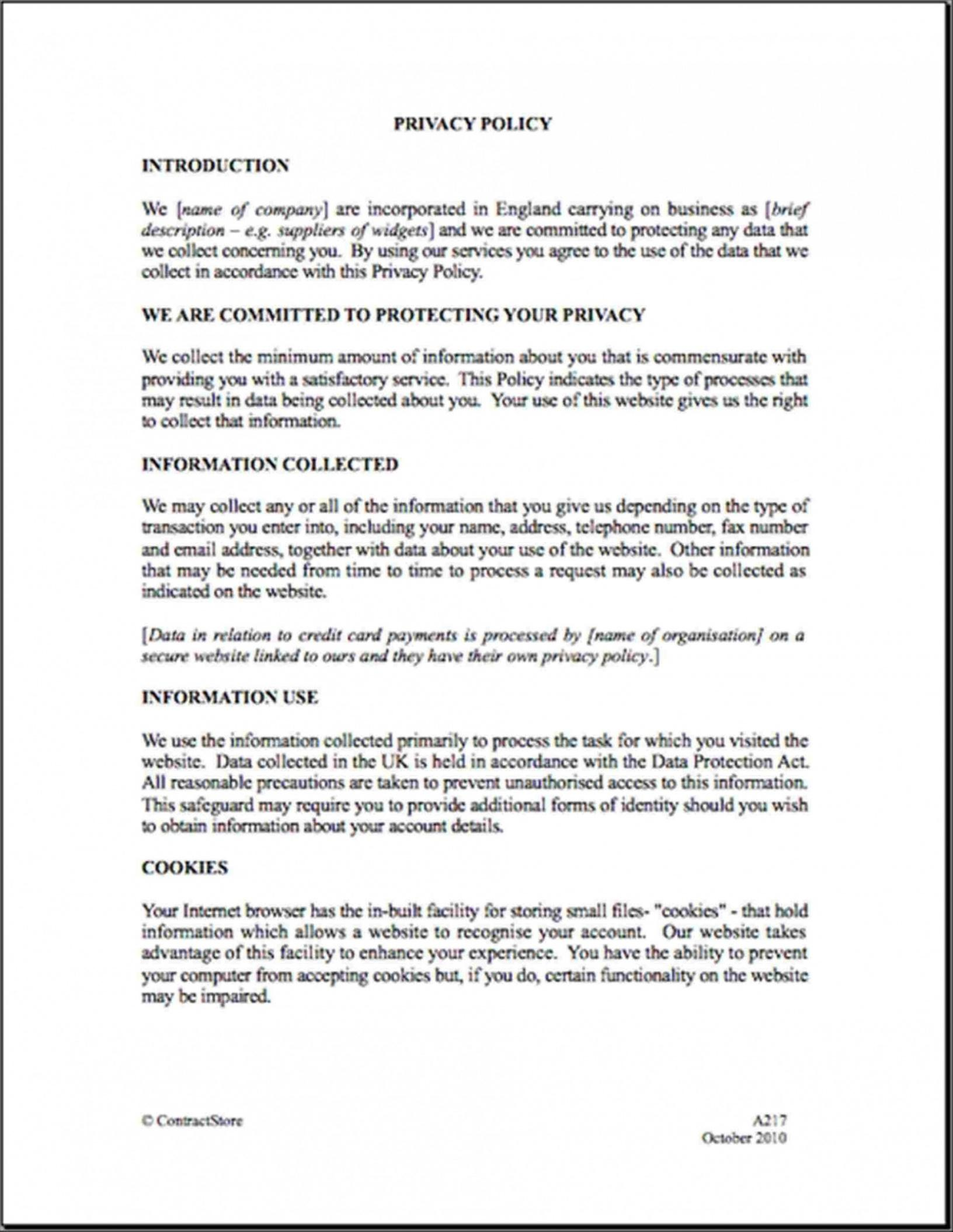 Best Company Privacy Policy Template Pdf Example