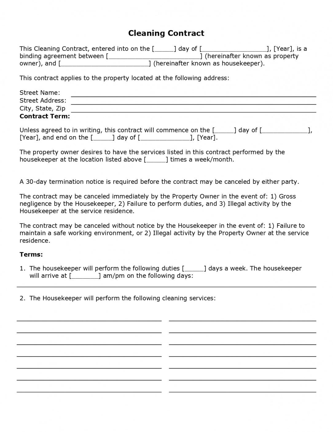 Best Janitorial Cleaning Contract Template Excel