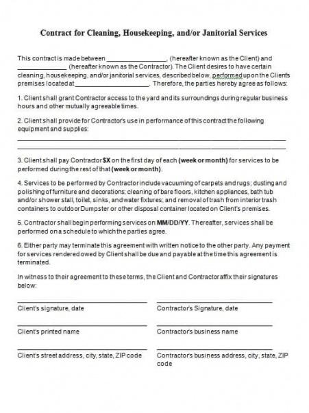 Best Janitorial Service Contract Template Word Example