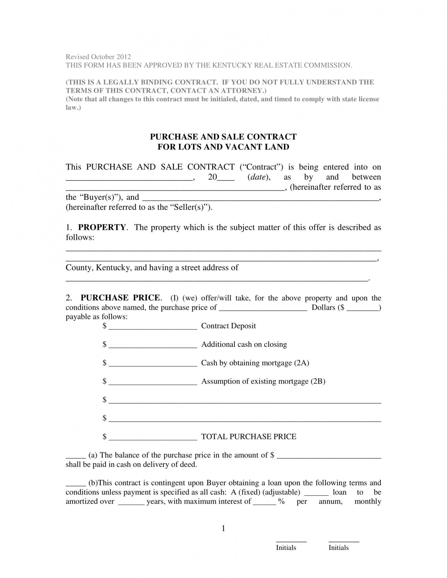 Best Land Sale Contract Template Pdf Sample