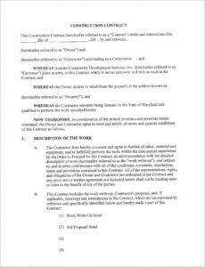 Best Owner Builder Contract Template Word Sample