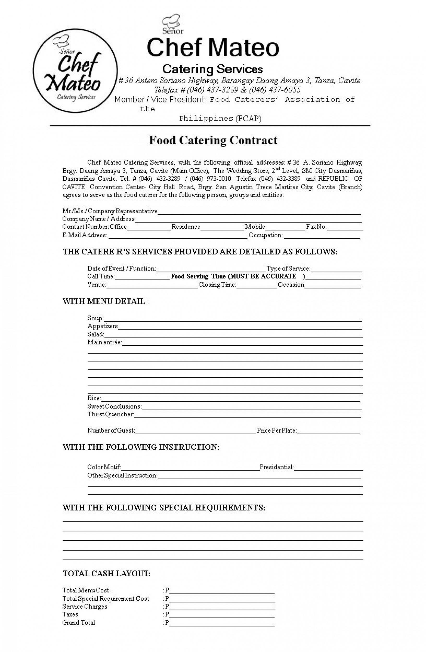 Catering Service Contract Template Word