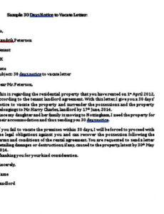 Costum 30 Day Notice Lease Termination Letter Template  Example