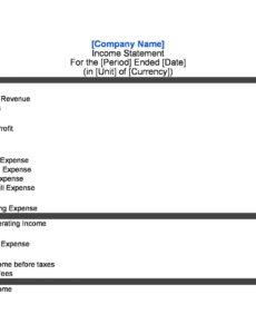 Costum Basic Income Statement Template Excel Sample