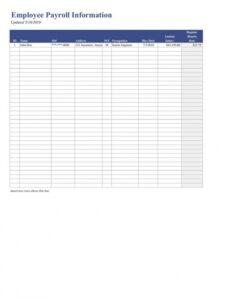 Costum Employee Payroll Statement Template Pdf