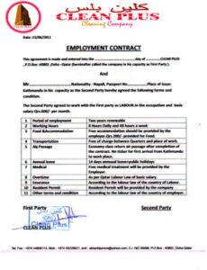 Costum Management Employment Contract Template Doc Example